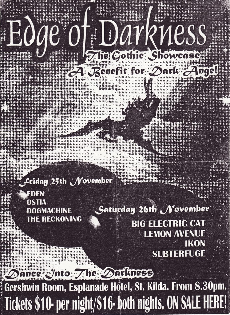 Edge of Darkness: The Gothic Showcase - a Benefit for Dark Angel zine flyer.