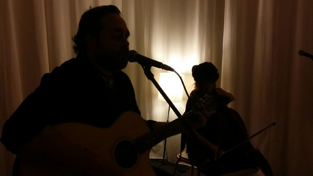 Mark Kelson & Francesca Mountfort in rehearsal for an acoustic show supporting Anathema at The Corner Hotel.